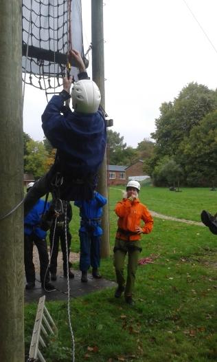 Climbing up ropes
