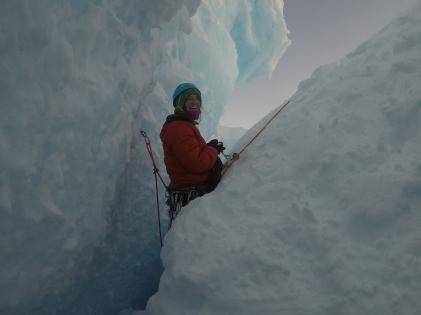 Halfway down the crevasse. Photo credit D. LewisG